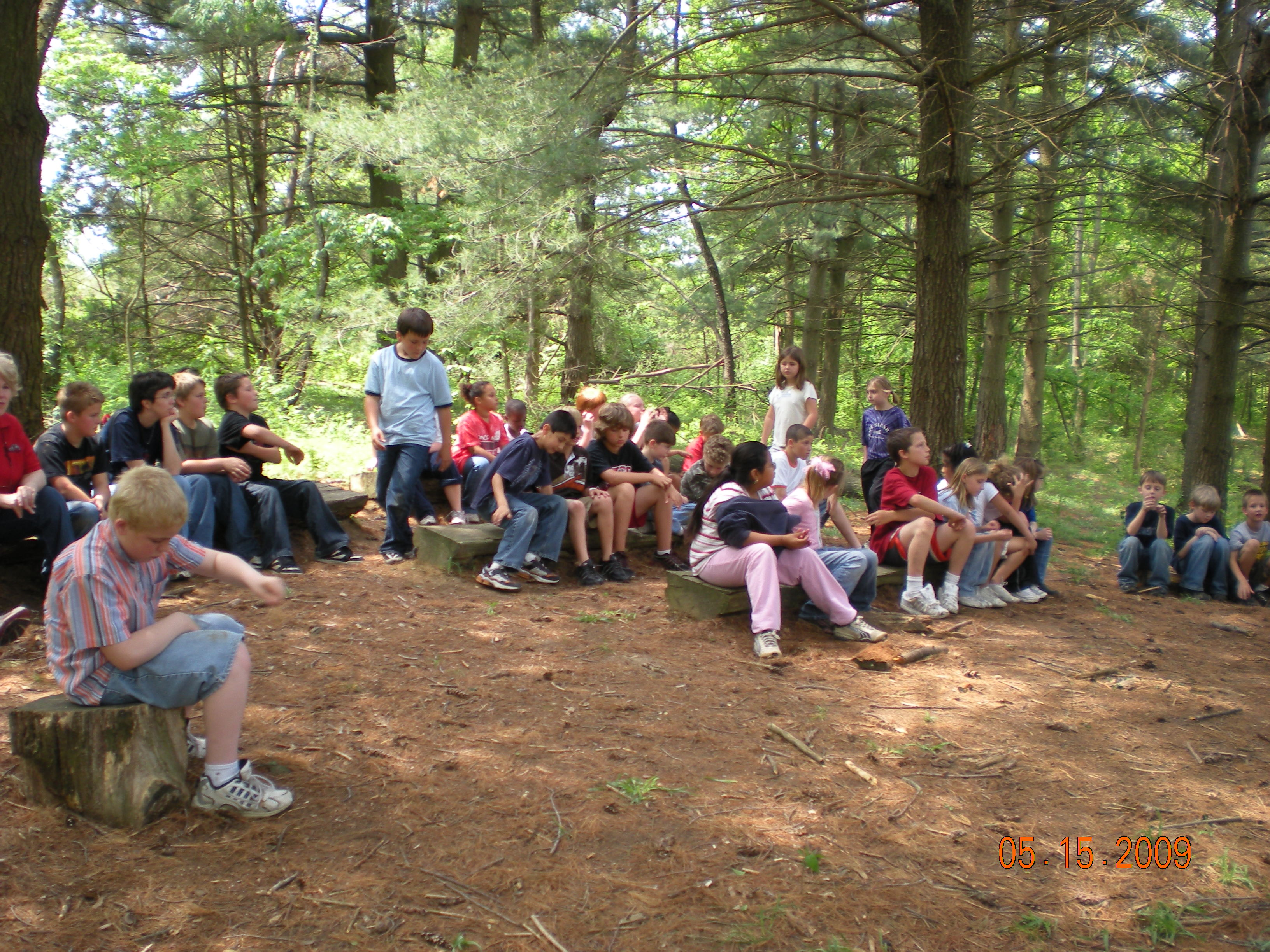 Hawthorne Elementary 3rd Grader Group at the Outdoor Classroom